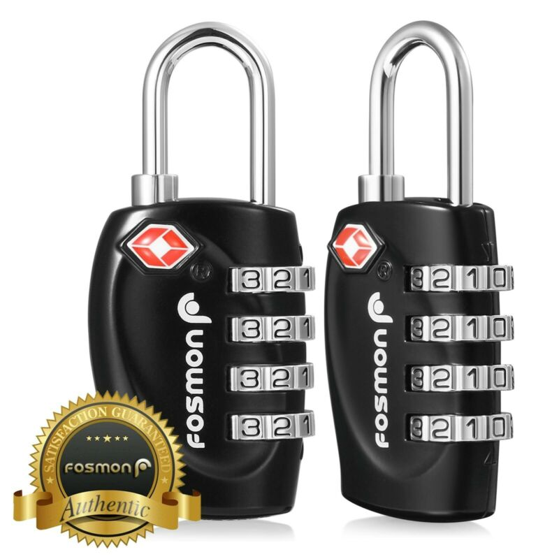 2xTSA Approve 4 Digit Combination Travel Suitcase Luggage Bag Lock Padlock Reset