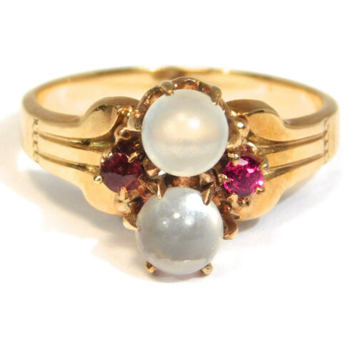 VICTORIAN 10K ROSE GOLD MOONSTONE DOUBLE ORB RING 1880