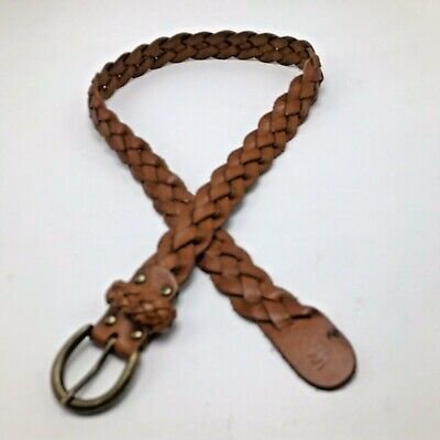 Abercrombie British Tan Braided BELT Small Medium Brass Tone Buckle 1 1/8""