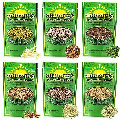 Organic Seed Starter - Mumm's Sprouting Seeds - Starter Sample Pack - 625 GR - Organic Sprout Seeds