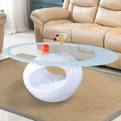 Contemporary Glass Oval Coffee Table Round Hollow Shelf Living Room - White Round Table