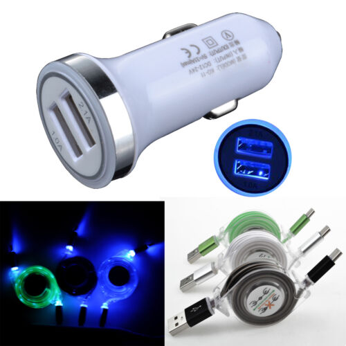 Retractable LED Light USB C Cable+Car Charger For Samsung Ga