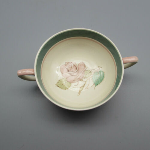 Susie Cooper England China Patricia Rose Green Cream Soup Bowls - Set of Six