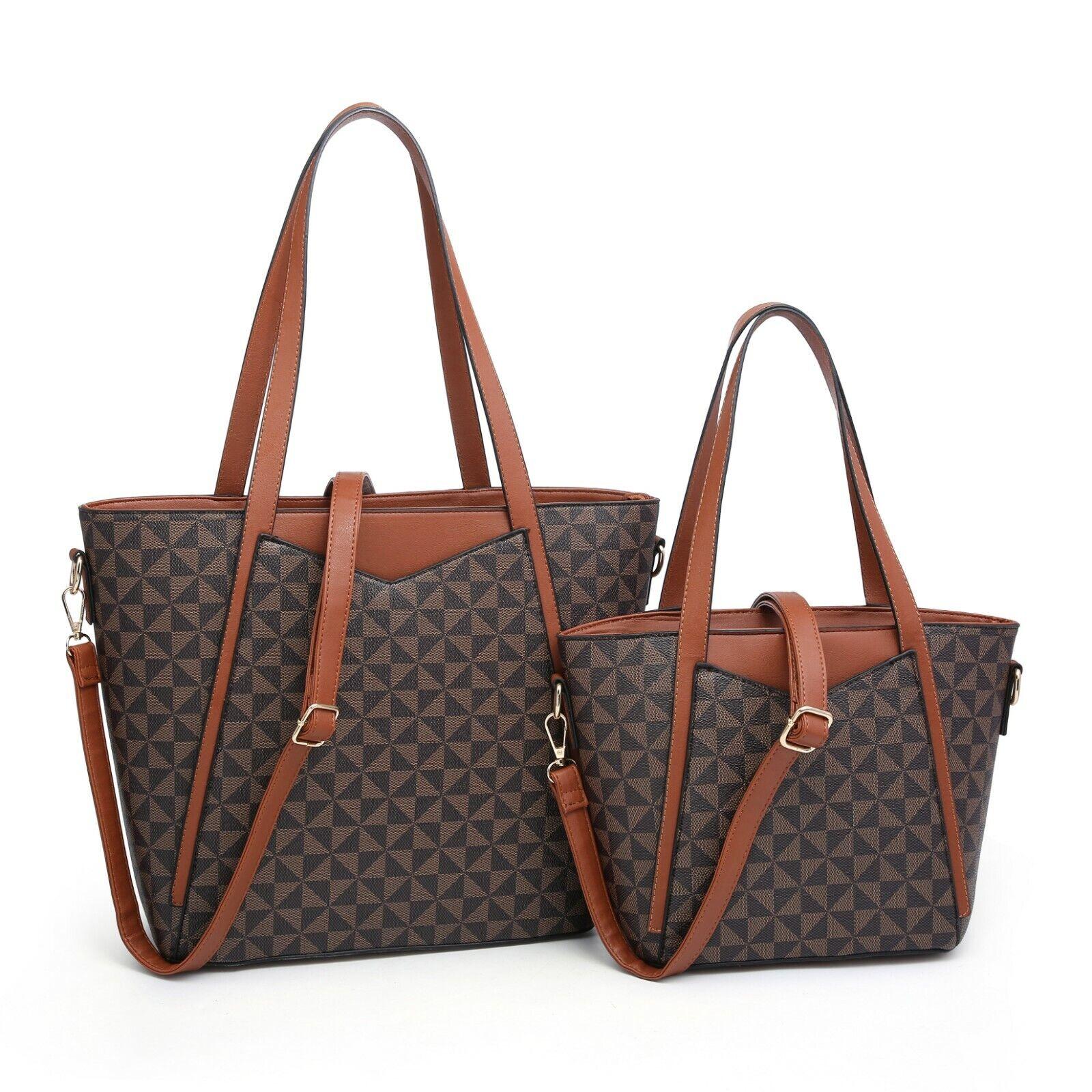 Women's Lady Satchel 2 Pieces Set Tote Bag Shoulder Handbag/