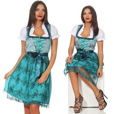 Strass Tüll (Dirndl Damen Strass Tüll Spitzenschürze Midi Kleid Oktoberfest Tracht türkis)