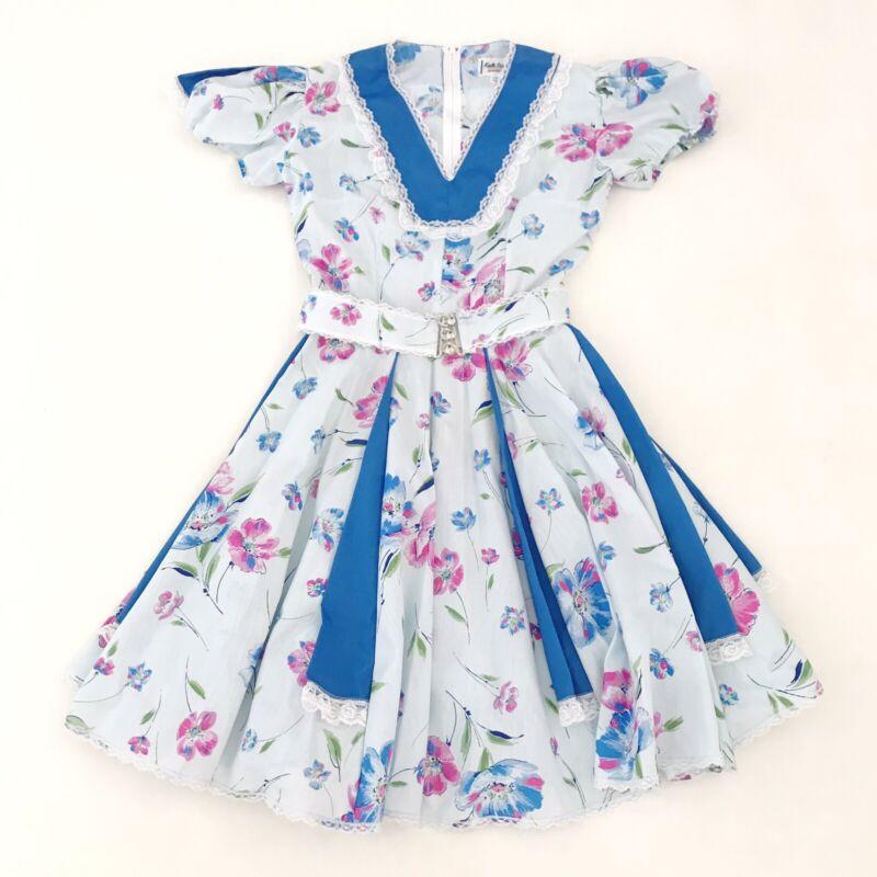Square Dance Kate Schorer Blue Pink Green Floral Lace Belted Vintage Dress USA