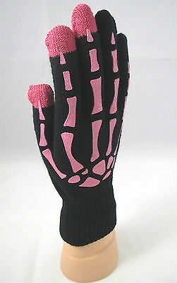 SKELETON Fingers Touch Screen Gloves Womens Black HOT PINK Bones One Size all - Pink Skeleton Gloves