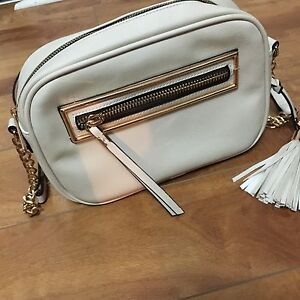 Cream cross body purse