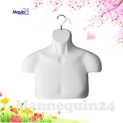 Male Torso Dress Form - White Free-standing Mannequin Removal Hanger