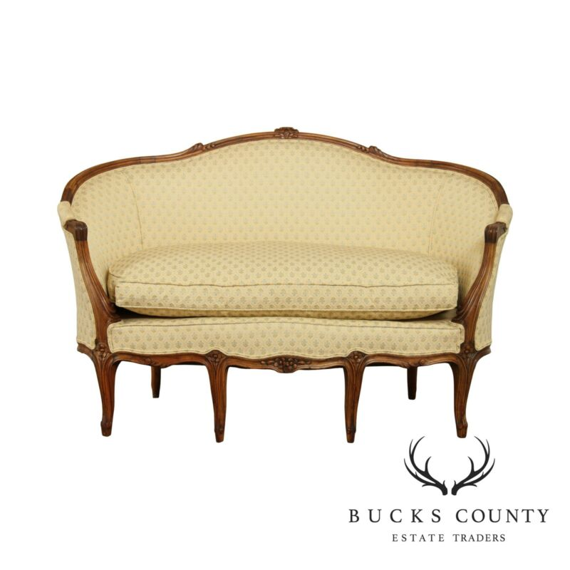 French Louis XV Style Antique Carved Walnut Frame Loveseat
