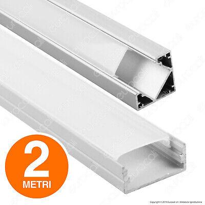 PROFILO Alluminio 2 metri LINEARE o ANGOLARE + Copertura Strisce LED Barra Strip