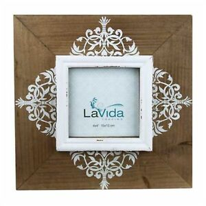 Photo Frame Natural Wooden Brown Floral Modern Vintage Shabby ChIc Country