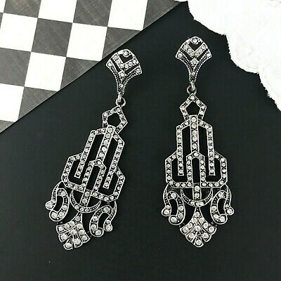 1920s Art Deco Jewelry: Earrings, Necklaces, Brooch, Bracelets Art Deco Bridal Rhinestone Geometric Earrings Silver Bridal Crystal Long Large $19.00 AT vintagedancer.com