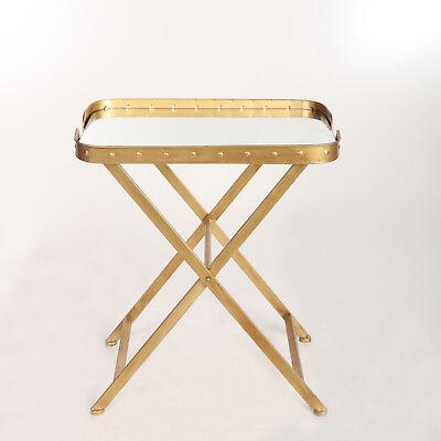 Tisch Beistelltisch Gold Kaffeetisch Spiegel Kupfer-Look Metall Messing Vintage