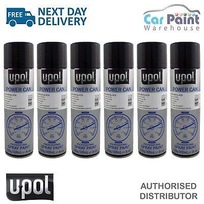 6 x U-POL Power Can Gloss Black 500ml Aerosol Spray Cans UPOL Powercan Paint