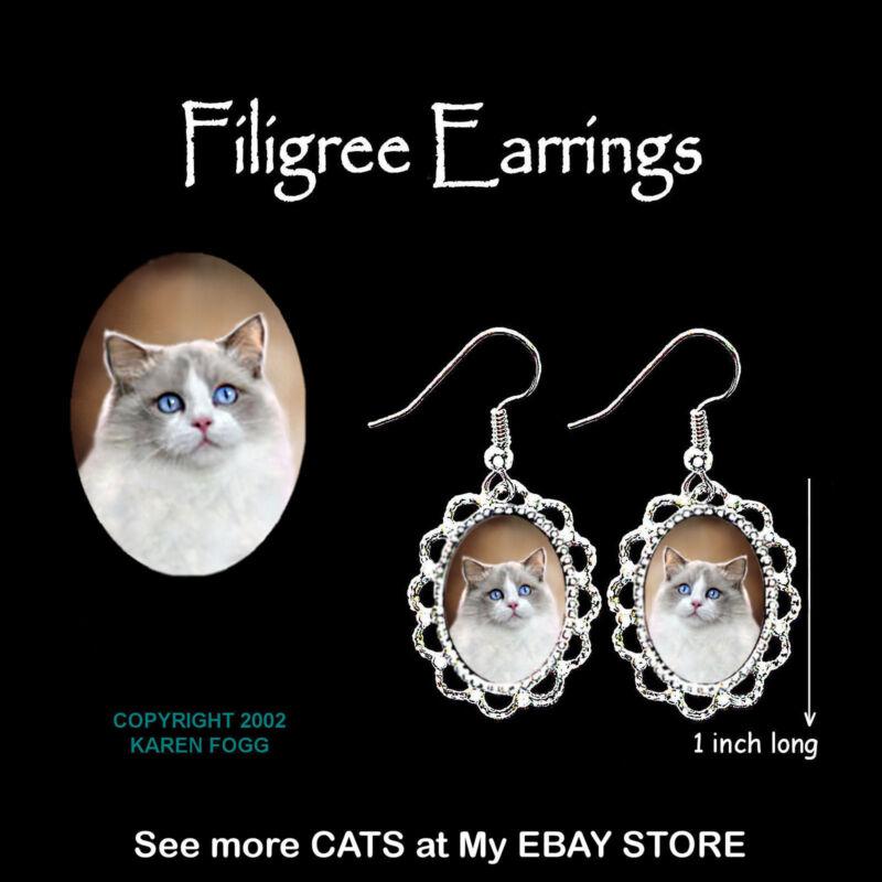 RAGDOLL Cat - SILVER FILIGREE EARRINGS Jewelry
