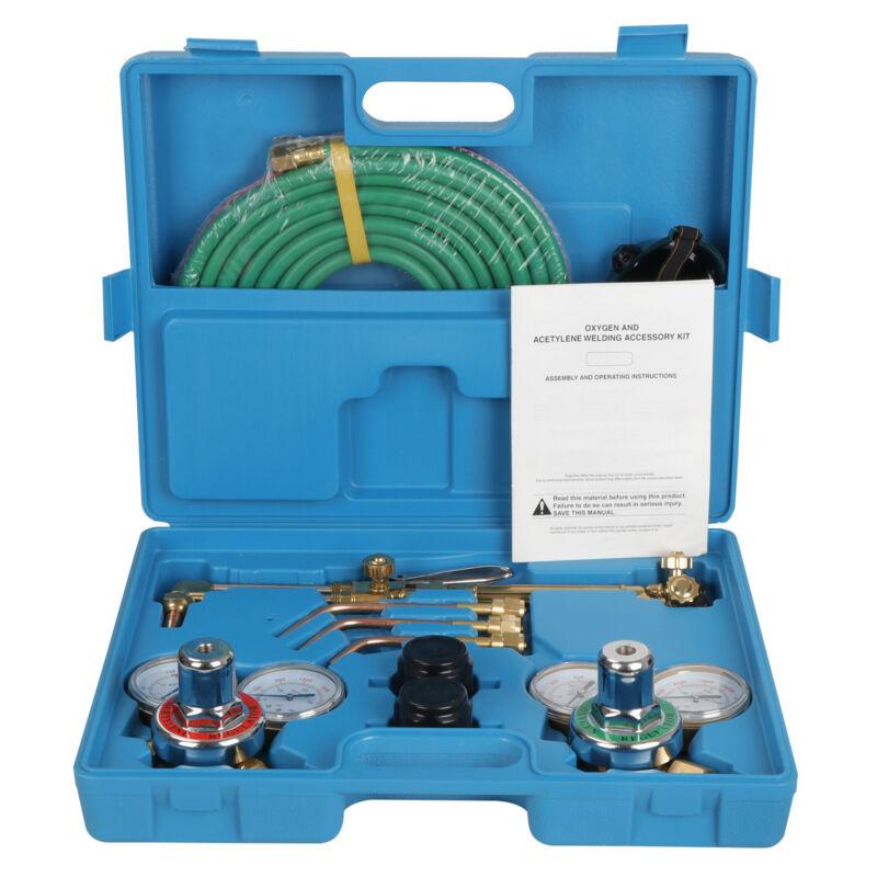 Gas Welding & Cutting Kit Acetylene Oxygen Torch Set Regulator w/ Free 3 Nozzles