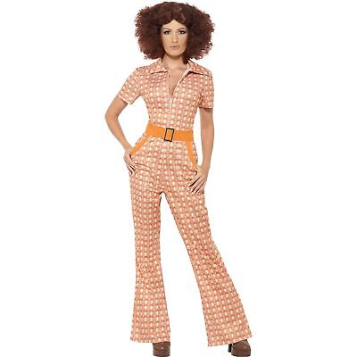 70's Female Costumes (70's Authentic Chic Jumpsuit Groovy Female Womens Ladies Fancy Dress)