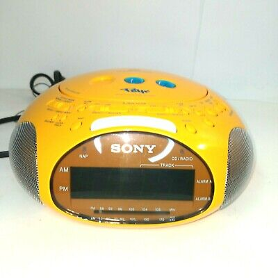 Sony Dream Machine Psyc ICF-CD831 CD Player Alarm Clock Radio Yellow Tested