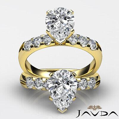 6 Stone Prong Set Pear Cut Diamond Engagement Ring GIA H SI1 Platinum 1.31 ct 4