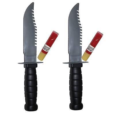 2 Blutiges Messer Blutmesser Sägemesser Kunstblut nachfüllbar Horror Deko Scream