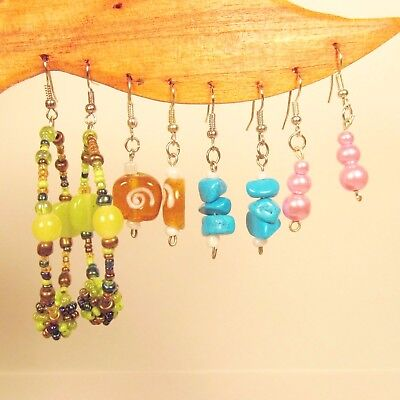 Wholesale Lot 10 PCS Assorted Styles & Colors Handmade Beaded Dangle Earrings