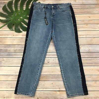 Blank NYC Crop Girlfriend Jeans Size 28 New Distressed Straight Leg Medium (Blank Nyc Crop Girlfriend Medium Wash Distressed Jeans)