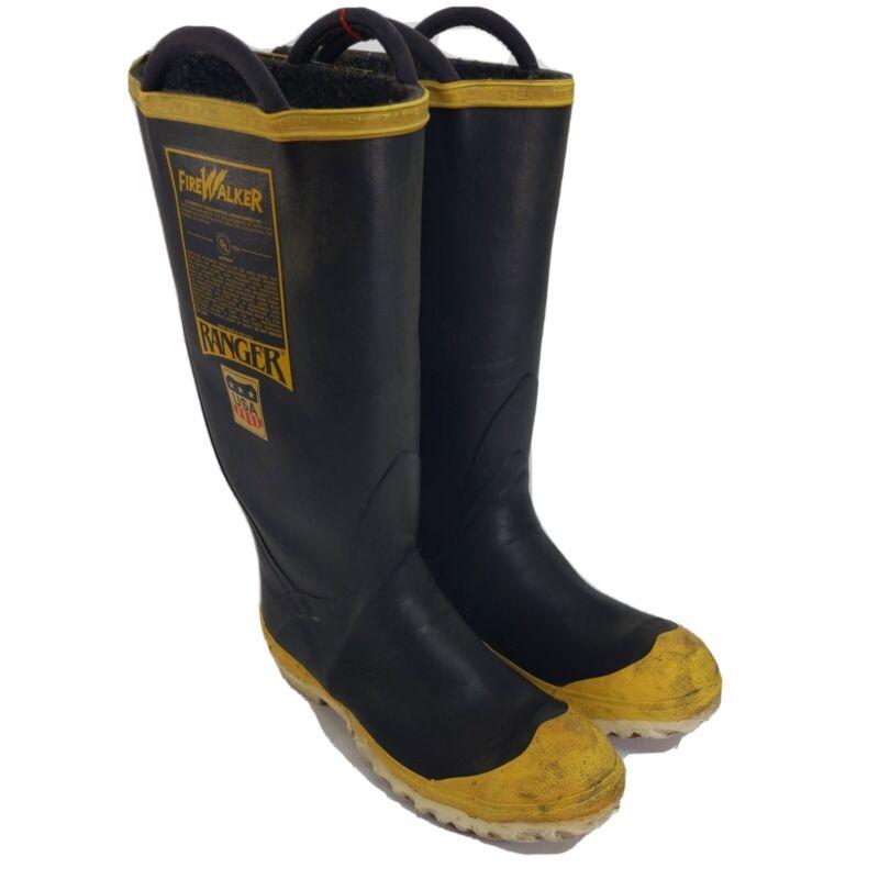 FireWalker Ranger Firefighter Turnout Gear Rubber Boots Steel toe Size 9M USA