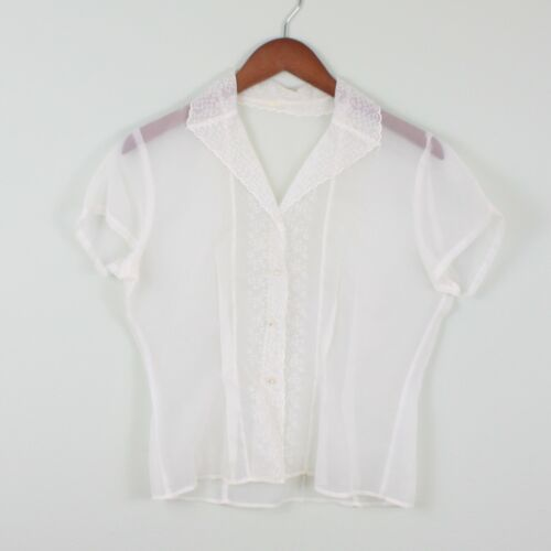 VTG 1950s White Sheer Blouse Floral Embroidery Rhinestone M