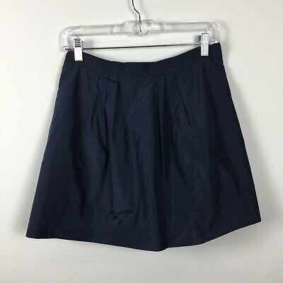 J Crew 4 Skirt Full Navy Blue Silk Lined Grosgrain Waist Back (Back Zip Full Skirt Skirt)