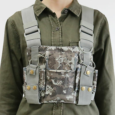 Front Chest Harness Chest Front Pack Pouch Holster Vest Rig For Baofeng Walkie