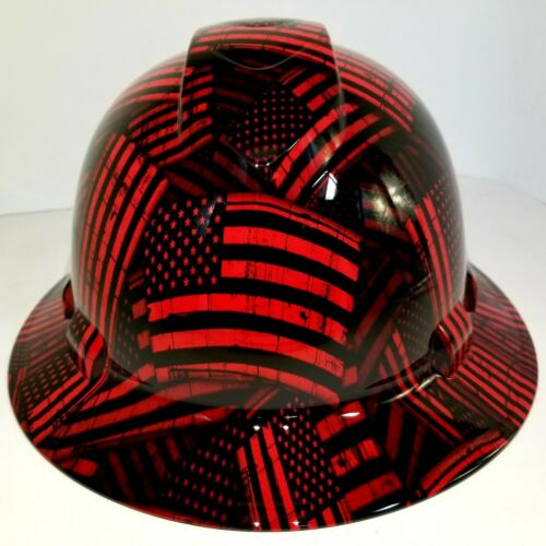FULL BRIM Hard Hat custom hydro dipped , NEW CANDY RED USA FLAG FIREMANS FLAG