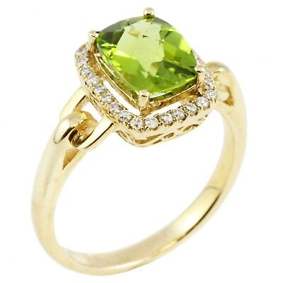 14k Yellow Gold Checkerboard Cut Green Peridot Round Diamond Halo Ring 2.39 TCW Checkerboard Cut Peridot Ring