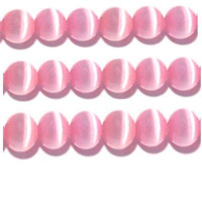 Cats Eye Beads 4mm Pink Strand Grade