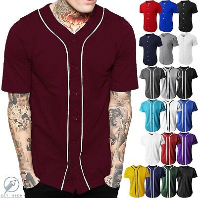 Mens Baseball Jersey Raglan Plain T Shirt Team Sport Button Fashion Tee Casual