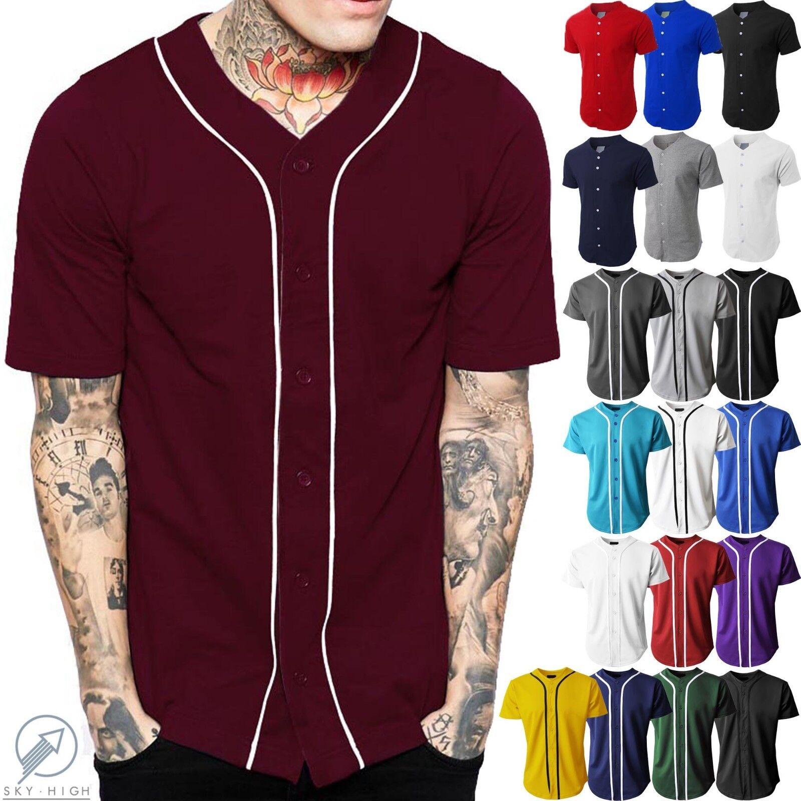 Mens Baseball Jersey Raglan Plain T Shirt Team Stripe Solid