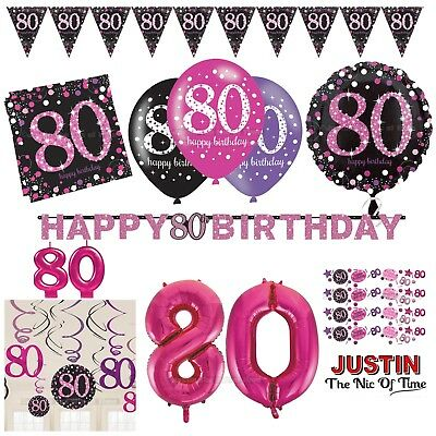 80th PINK Celebration Birthday Party Supplies Balloons Tableware & Decorations ()
