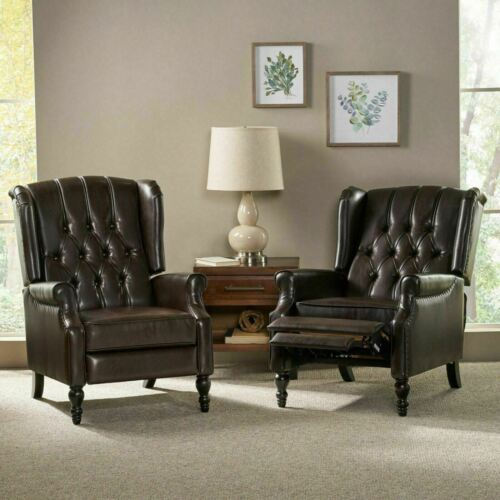 Elizabeth Contemporary Tufted Bonded Leather Recliner (Set of 2) Chairs