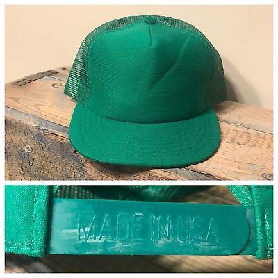 Vintage Deadstock Blank Hat SnapBack Trucker Green Mesh Made in USA John Deere