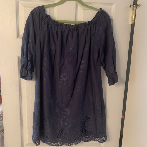 Abercrombie Fitch Black Off The Shoulder T Shirt Dress Embroidered Sleeve Size S - $12.50