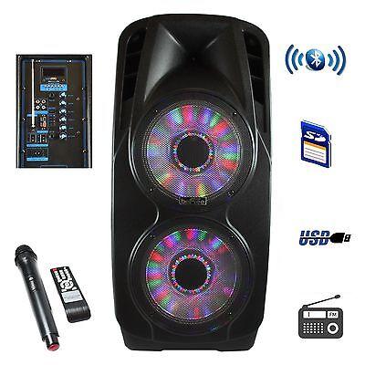 "beFree Sound 5000W 2x12""  Woofer Portable Bluetooth Powered PA DJ Speaker USB SD"