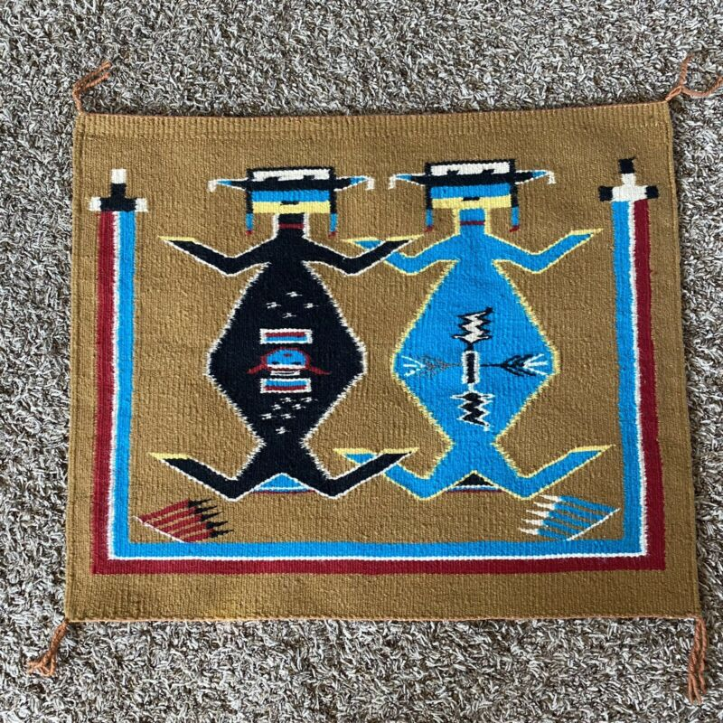 Vintage Authentic Mother Earth Father Sky Handwoven Navajo Rug Wall Hanging