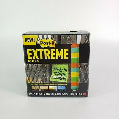 3m Post-it Extreme Notes 3 In X 3 In Orange Green Yellow Mint 12 Pads Per Pack
