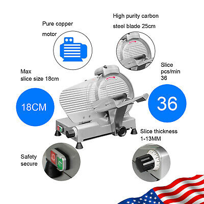 Portable 10 Semi-automatic Meat Slicer Thickness Adjustable Cutter Machine 240w