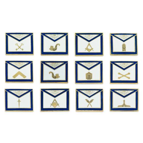 Officer Apron (Set of 12 Pins) Masonic Lapel Pin - [Blue & White][3/4