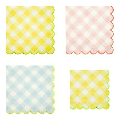 Pink, Blue, Yellow Gingham Paper Napkins, Baby Shower, Easter, Birthday Party  ()