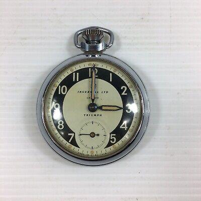 Vintage Stainless Steel Ingersoll LTD London Pocket Watch Not Working