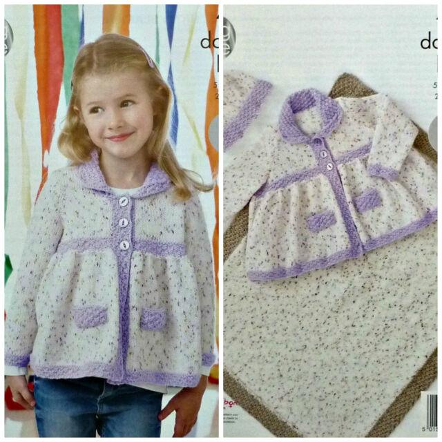 KNITTING PATTERN Childrens Smocked Jacket Blanket & Hat Contrast Ribs DK 4444