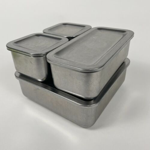 4 Vintage Revere Ware 1801 Stainless Steel Refrigerator Food Dishes Pans w/ Lids