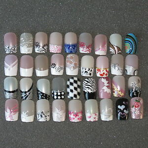Pre-Designed-Full-False-Nails-24-Pre-Design-Airbrushed-Nails-UK-SELLER